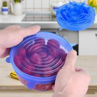 Wholesale silicone bowl lids for sale - Group buy 6PCS Set Universal Silicone Suction Lid bowl Pan Cooking Pot Lid silicon Stretch Lids Silicone Fruit Cover Pan Spill Lid Stopper Cover m026
