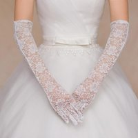 Wholesale beautiful glove resale online - 2019 Beautiful Lace White Black Red Bridal Gloves Crystal Long Cheap Wedding Gloves Fast Shipping Bridal