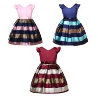 ingrosso linee di cravatta-Kids Girls Summer Princess Dresses 3+ Stripe Bow Tie Sash A-Line Dress Invisible Zipper Dress Bambini Designer Party Peform Dress elegante 2-8T