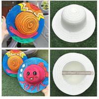Wholesale handmade paintings girls resale online - DIY Children Straw Hat Painting Graffiti Handmade Art Cap Kindergarten Hats Originality Fine Arts Labour Material Hot Sale chG1