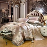 ingrosso set di lenzuola di lusso marrone-Copripiumino Lace Edge Cotton Stain Jacquard Luxury Bedding set Marrone Colore King Queen size Letto / Fit Lenzuolo copriletto
