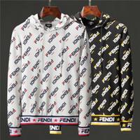 erkek kapşonlu kış tops toptan satış-En Kaliteli Sonbahar Kış Popüler erkek Ceket Uzunluğu Kol Hoodies Tişörtü Baskı FF Gözler Hoody Kapşonlu Erkek Kazak Ceket 92O 6813