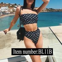 maiô de duas partes venda por atacado-L luxo marca preto e branco biquíni swimwear para mulheres maiô beachwear verão duas peças sexy lady swimsuit s-xl