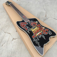 строить гитары оптовых-Пользовательские ZZ Top Гра G6199 Билли Бо Jupiter построил для Билли Gib Black Striplined Thunderbird Электрогитары Круглых входных гнезд, Single Pickup