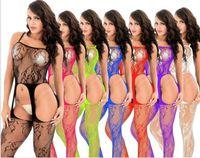 foreign socks 도매-2019 재미있는 속옷, 섹시한 일시 중단 벨트, 2056 네츠, 연결 실크 양말, 중공 아웃, 블랙 대형 크기 대외 무역
