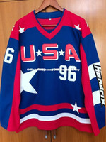 Cheap custom Mighty Ducks D2 Movie Team USA Hockey Jersey  96 Charlie  Conway Blue Stitched Customize any number name MEN WOMEN YOUTH GOALIE 0a7b6c76c