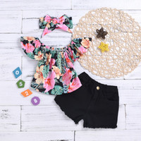 Wholesale toddlers girls clothes online - 2019 New HOT SALE Toddler Kid Girl Clothes Floral Tops T shirt Denim Shorts Headband Outfits Set