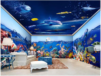 Wholesale chinese coral resale online - custom photo d wallpaper sea Mermaid dolphin coral fish Whole house background wall home decor d wall murals wallpaper for walls d