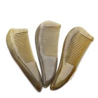 ingrosso pettini di corno naturale-1PC Natural Yak Horn pettine 14 centimetri anti-statica massaggio capelli pettine coda capelli lisci G0416