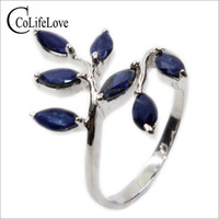 Wholesale blue leaf ring for sale - Group buy Classic silver leaf ring mm mm natural dark blue sapphire ring for woman real silver sapphire romantic gift