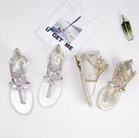 ingrosso sandali in rhinestone flip flops-Moda estate designer di lusso scarpe da donna infradito da donna sandali strass pietra preziosa sandali da donna in pelle bohémien retrò