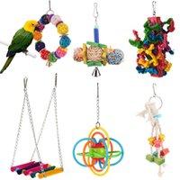 kuş ürünleri toptan satış-1 adet Kuş Papağan Oyuncaklar Papağanlar Parakeet Cockatiel Için Renkli Silikon Top Kafes Asılı Oyuncak Salıncak Kuş Pet Ürünleri