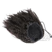ingrosso capelli ricci vergini reali-Indian Virgin Natural Black Clip Fascia elastica Legami coulisse Capelli afro crespi Coda di cavallo Ricci di capelli umani veri Coda di cavallo