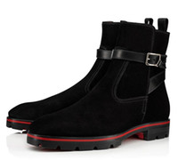 llantas rojas al por mayor-2019 LLuxurious neumáticos suela de goma calidad estupenda cargadores del tobillo inferior rojo Kicko negro del cuero genuino botas de ante, los hombres elegantes Mediados cargadores de los hombres