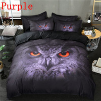 Discount owl bedding set full Purple Owl 3D Print Fashion Bedding Set Twin Full Queen Size 2 3pcs with pillowcase Bed Cover Sets Night series Bedding Cover Suit