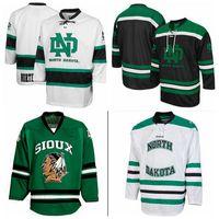 Wholesale Custom University of North Dakota Road Jersey Men s Women Youth White Black Hight Quality Stitching Any Name Number Hockey Jerseys