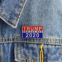metal broşlar toptan satış-Trump 2020 Broş Cumhurbaşkanlığı Seçim Metal Emaye Broş Pin Takı Kadınlar Erkekler Broş Sırt Çantası Yaka iğneler Parti Favor Hediyeler için DHL