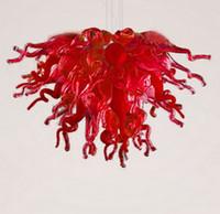 schöne deckenleuchten großhandel-Moderne LED-Deckenleuchten Energiesparende Lichtquelle Schöne elegante rote Glasdeckenleuchte von Dale Chihuly für das Wohnzimmer