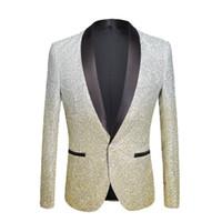 jaqueta de terno brilhante preto venda por atacado-PYJTRL Mens Moda Gradiente Cor Pó Brilhante Prata Ouro Rosa Champagne Azul Preto Slim Fit Blazer Palco Palco Jaqueta