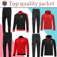 ingrosso giacche rosse con cappuccio-Top Quality 2019 -2020 AC Milan con cappuccio sportivo Giacca Set 19-20 CALHANOGLUAC Red Centennial Classic Full Zip Football Training Sui