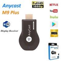 dmb th tv stick toptan satış-Telefon Tablet PC için Chromecast Youtube, Netflix 1080P Kablosuz WiFi Ekran TV Dongle Alıcı DLNA Miracast'i TV Çubuk anycast M9 Artı
