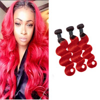 Wholesale straight red ombre hair weave resale online - Brazilian Virgin Hair Bundles B red Straight Ombre Human Hair Three Pieces inch B Red Double Wefts Ruyibeauty