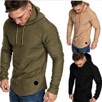 tişört yeni toptan satış-Brand New Sonbahar Moda Erkek Casual Kapüşonlular Erkekler Katı Renk O-Boyun Kapşonlu Sling Sweatshirt Erkek Hoodie Hip Hop 5XL