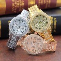 стальной ленточный конвейер оптовых-LBS Римская шкала двойной круг Алмаз Трехглазый стальной ремень часы алмазный бренд женские часы женские модели полный алмазов наручные часы