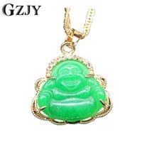 ingrosso oro di buddha-Gzjy Fashion Charm Collana Pendente Sorriso Buddha Green Stone Zircone Champagne color oro ciondolo per le donne gioielli regalo J190711