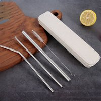 Wholesale 304 Stainless Steel Straw Box set Bent mm Straight Reusable Colorful Straw Drinking Straws Metal Straw Party Wedding Bar Drinking Safety
