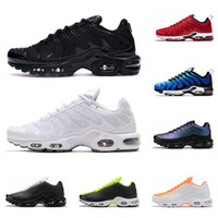 tn spor koşu ayakkabıları toptan satış-2020 nike air max tn plus SE erkek koşu ayakkabı üçlü siyah Gerileme Gelecek Beyaz Crimson Üniversitesi Kırmızı erkek eğitmen moda spor sneakers koşucu