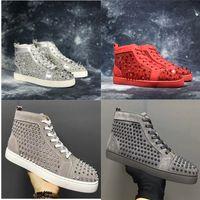 fondos de oro al por mayor-Nueva llegada Casual Shoe Man Woman Sneaker Fashion Spikes Rhinestone Red Bottom Gold Silver Wedding Designer Rive Shoes Drop Shipping