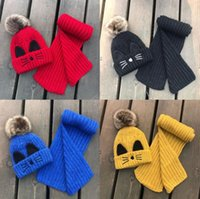 Wholesale kid crochet shawls for sale - Group buy 7 Color Winter Knitted Scart and Hats Set For Kids Cute Cat Design Outdoor Warm Babys Beanie Headdress Ear Protection Warm Hat And Shawl