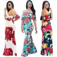 sıkı oturmalı mini elbise toptan satış-Klasik ruffled çiçek renkli baskı tüm günler için seksi off-omuz dar moda uzun elbise