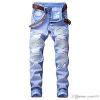 jeans de moda urbana venda por atacado-Novos modelos de explosão de jeans de alta qualidade dos homens furos multi-color calças da motocicleta moda urbana calças de tendência da juventude