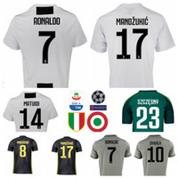 3c7840ab1e5 Wholesale cristiano ronaldo jerseys online - 2018 Serie A Juventus RONALDO  Jersey Soccer Men White MANDZUKIC