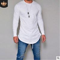 новые тенденции моды для мужчин оптовых-2019 Новая весенняя мода O-образным вырезом Slim Fit с длинным рукавом Футболка мужская модная повседневная мужская футболка Черно-белые футболки Topsl