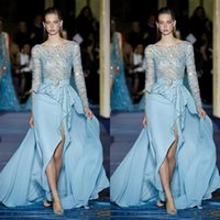 Wholesale beautiful blue evening dress beaded resale online - Newest Beautiful Ice Blue Prom Dresses Evening Wear Arabic Mermaid Sheer Jewel Sequines Beads Tulle Formal Party Gowns