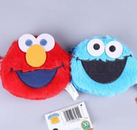 Wholesale coin purse gifts for sale - Sesame Street plush coin bag ELMO Plush Children cartoon Zipper Mini Coin Purses Plush Coin Pocket for Kids Gift LJJK1314
