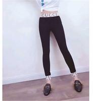 leggings médio venda por atacado-Leggings Na Moda Popular Europeu Leggings Início Da Primavera Com Velo Quente E Magro Calças De Espessura De Médio Preto