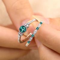 conjuntos de anillo de boda de color rosa al por mayor-2 Unids / set Lujo Verde Azul Rosa Anillos de Cristal Para Las Mujeres Anillo de Amor de Compromiso de Boda Con Piedra Mejores Regalos de Joyería