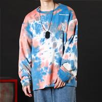 hoodie de rock venda por atacado-Casual Loose Tie Dye Pullover Hoodies Moletons Mens Hip Hop Hipster Punk Rock Streetwear Moletom Com Capuz Moda Jumper Tops