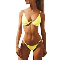 ingrosso stringhe di colore giallo-Sexy Bikini 2019 Donne Giallo Bikini Set Push Up Ragazze G String Costumi da bagno Costume da bagno Maillot Bain Femme Stroje Kapielowe