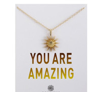 Wholesale cards valentines resale online - DHL Dogeared Necklace With Card You are amazing Gold sun star Pendant Noble and Delicate Silver Choker Valentine Day Christmas Gift nt