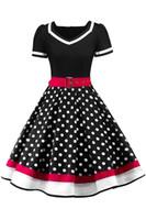 ingrosso punti di rosa-2019 Polka Dots Vintage donne Rockabilly abiti con cintura Swing Retro estate donne lavoro vestito casual abiti da festa maniche corte FS3876