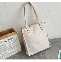 bej torba poşetleri toptan satış-2019 podyum yeni nokta bej beyaz uçan fil tarzı C ev tuval alışveriş çantası omuz çantası toplu