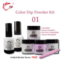 Wholesale dipping powder resale online - Nail Dipping Nails Set French Manicure Kit Powders Base Top Gel Activator Dip Nails Natural Dry