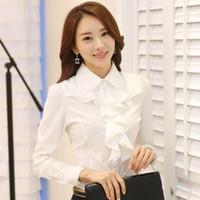 nuevos estilos de blusa coreana al por mayor-Nuevas llegadas Estilo coreano Ropa de trabajo Moda Elegante Volantes Manga larga Mujer Blusa blanca Camisa con traje negro