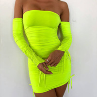 Wholesale pop up clothes resale online - Women Clothes Fluorescent Colour Designer Dress Sexy Fashion Atmosphere A shaped Hot selling Pop up Dress Bottom wrapped Hip Dresses Winter