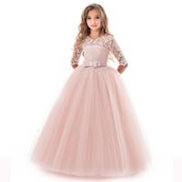 kind mädchen abendkleider großhandel-Kinder Brautjungfer Spitze Mädchen Kleid für Hochzeit und Party Kleider Abend Weihnachten Mädchen lange Kostüm Prinzessin Kinder Phantasie